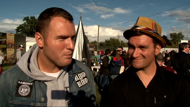 reading festival 2011: celebrity interviews; new found glory interview sot - on his idea for a tv show called 'a demo in a day' / america's got... - reading and leeds festivals stock videos & royalty-free footage