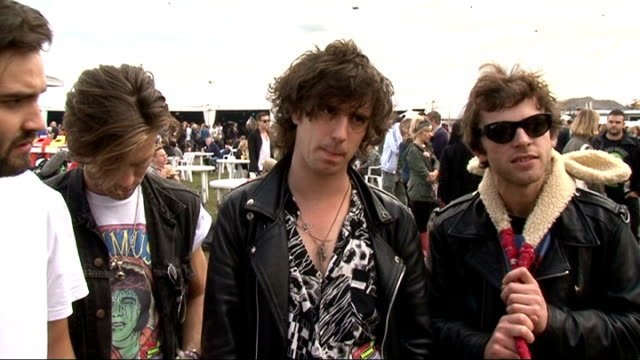 vídeos y material grabado en eventos de stock de reading festival 2011: celebrity interviews; tribes interview sot - on whether they've been to reading festival before / how they formed / tours... - reading and leeds festivals