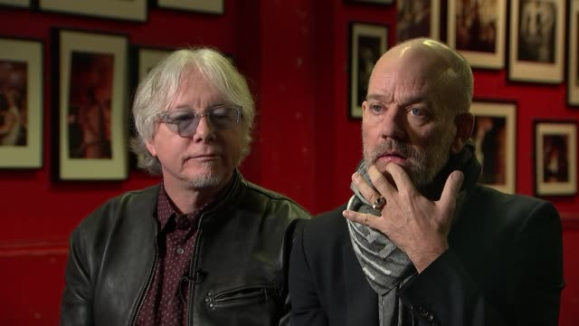REM interview Mike Mills and Michael Stipe interview SOT re current state of the US and Western politics