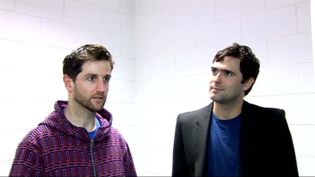 richard hughes and tim rice-oxley interview; england: london: int richard hughes and tim rice-oxley interview sot - on why tom is missing - he's... - ポピュラーミュージックツアー点の映像素材/bロール