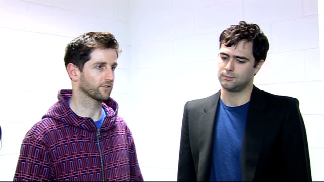 richard hughes and tim rice-oxley interview; richard hughes and tim rice-oxley interview sot - on how the keane/kanye collaboration will actually... - tim rice stock videos & royalty-free footage