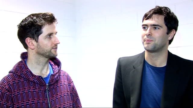 richard hughes and tim rice-oxley interview; richard hughes and tim rice-oxley interview sot - more on frankmusik being great artist - on the tour... - ポピュラーミュージックツアー点の映像素材/bロール