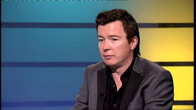 rick astley comeback astley studio interview sot on playing wembley arena / on enjoying doing the tours - wembley arena stock videos & royalty-free footage