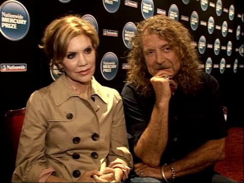 Robert Plant Alison Krauss and The Portico Quartet interviews ENGLAND London INT Alison Krauss and Robert Plant interview SOT On 'Mercury Prize'...