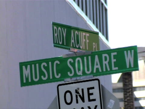 music row street signs five shots - nashville stock videos and b-roll footage
