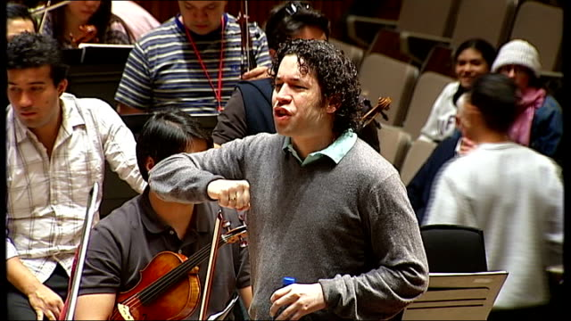 simon bolivar youth orchestra returns to london england london royal festival hall int **music heard intermittently throughout sot** various of young... - royal festival hall stock videos and b-roll footage