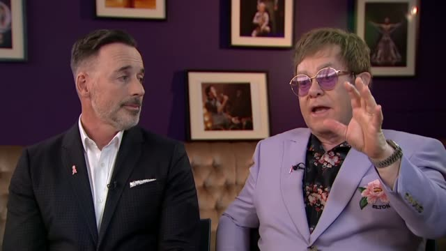 Sir Elton John and David Furnish interview NETHERLANDS Amsterdam INT Sir Elton John David Furnish interview SOT on the campaign to eliminate HIV and...