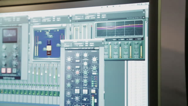 music software on computer and speakers, close-up - computer software stock videos & royalty-free footage