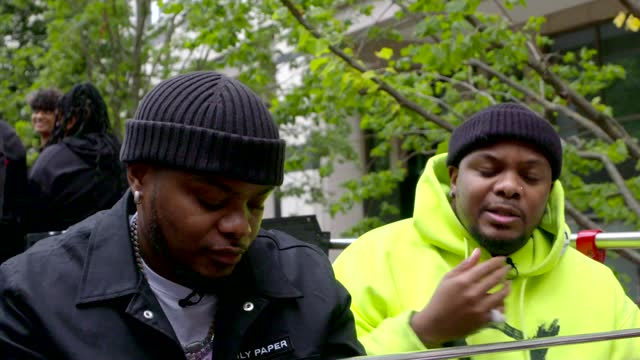 south african duo major league djz taking 'amapiano' sound to the uk; england: london: ext woman dancing in front of open top bus gvs major league... - film composite stock videos & royalty-free footage