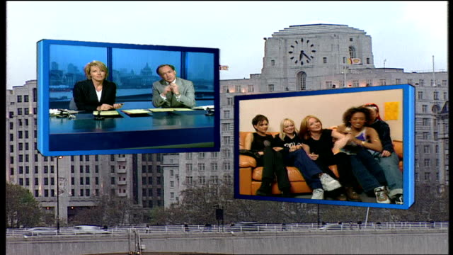 vídeos de stock e filmes b-roll de spice girls announce reunion tour 1990s news bulletin 'london tonight' featuring live 2way interview with the spice girls - spice girls