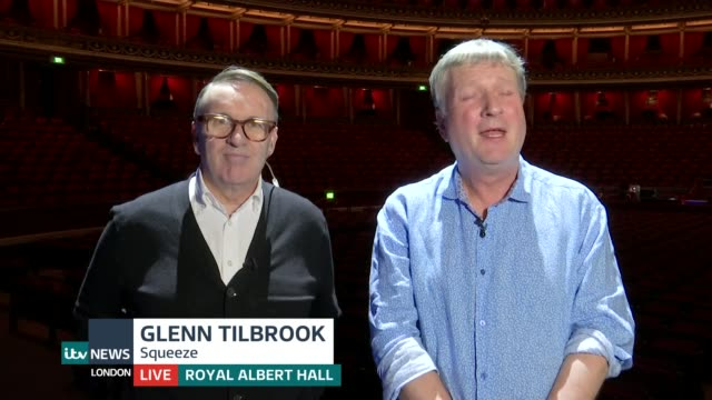 squeeze release new album england london gir int glenn tilbrook and chris difford live 2way interview from royal albert hall sot - album release stock videos and b-roll footage