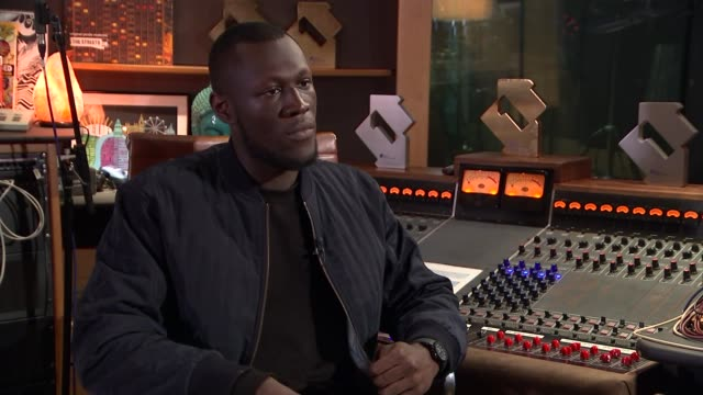 stormzy interview england london int stormzy interview sot cutaway reporter - stormzy stock videos and b-roll footage