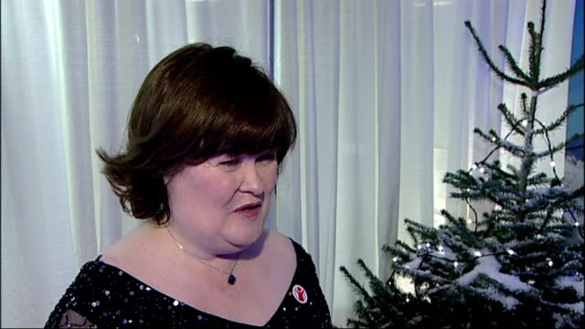 susan boyle to duet with elvis presley on christmas record; boyle interview continues sot - スーザン ボイル点の映像素材/bロール