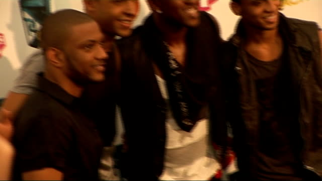 T4 On The Beach celebrity interviews Shots of boyband JLS posing for photocall Oritse Williams interview SOT On being happy to be back in the UK he...