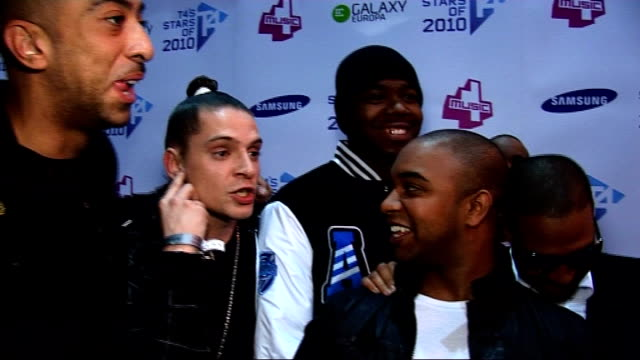 T4 Stars of 2010 Red carpet interviews Roll Deep interview SOT On their performance tonight / With headphones in they couldn't hear crowd / Lookingn...