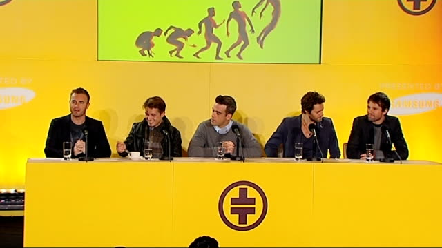 take that announce 2011 tour dates; gary barlow press conference sot - no rumours this morning everyone, just the facts that take that are going back... - take that stock videos & royalty-free footage