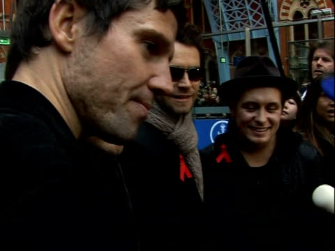 take that at st pancras international station take that interview sot on their success this time round / excited about the launch of their album 'the... - take that stock videos and b-roll footage