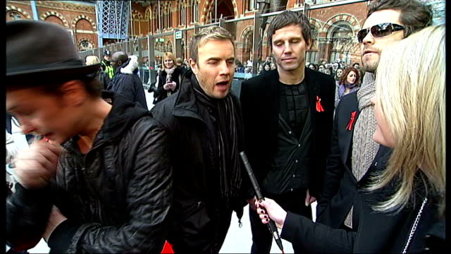 take that launch new album 'the circus' mark gary and howard interview alongside jason sot latest single greatest day going in at number 1 in the... - take that stock videos and b-roll footage