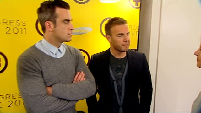 take that press conference take that interview sot gary barlow interview next robbie williams and mark owen sot should we have a word with someone... - boy band stock videos & royalty-free footage