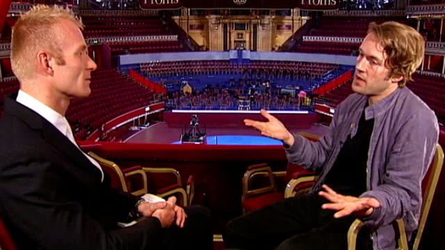 vídeos de stock, filmes e b-roll de the proms hip hop dj to perform with classical orchestra london albert hall gabriel prokofiev interview sot - royal albert hall
