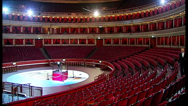 hip hop dj to perform with classical orchestra; london: albert hall: reporter to camera london: mathew tucker interview sot - royal albert hall stock videos & royalty-free footage