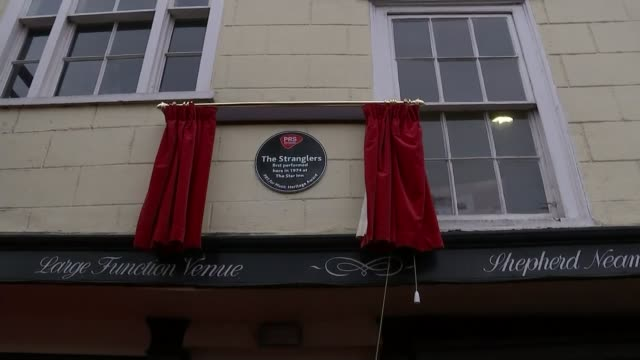the stranglers join fight to save venue where they first performed; uk, guildford; the stranglers unveiling commemorative plaque at the star inn, gig... - guildford stock videos & royalty-free footage