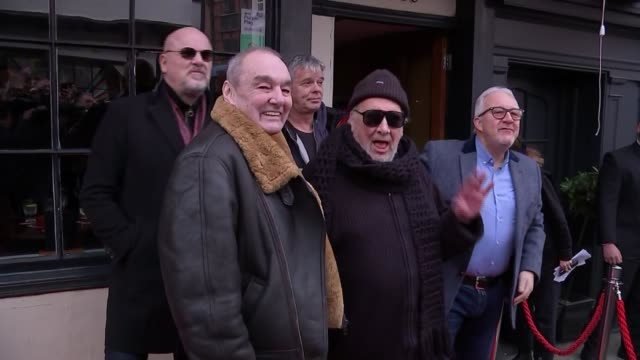 the stranglers unveil plaque at the star inn; england: surrey: guildford: ext the stranglers departing building / nigel elderton speaking to crowd... - guildford stock videos & royalty-free footage