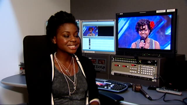 the use of auto-tune software on x-factor; england: london: int gamu nhengu intrview sot - talks of being nervous - the x factor stock videos & royalty-free footage