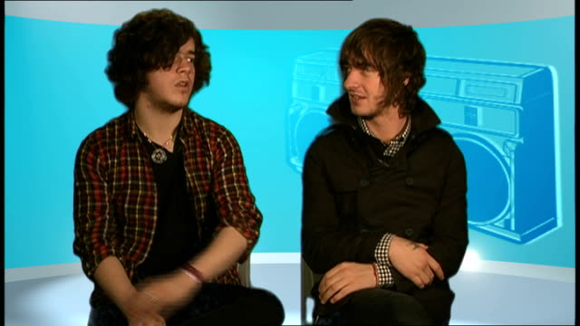 'the view' interviewed england london int kyle falconer and pete reilly interview sot int on the album 'which bitch' explaining title on the pressure... - album title stock videos and b-roll footage