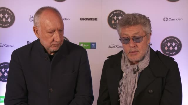 the who become first name on camden's music walk of fame; england: london: camden: int roger daltrey and pete townshend interview sot - roger daltrey stock-videos und b-roll-filmmaterial