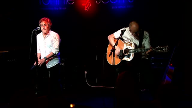 the who performance and q&a session at ronnie scott's; england: london: ronnie scott's: int pete townshend and roger daltrey onto stage and... - roger daltrey stock-videos und b-roll-filmmaterial