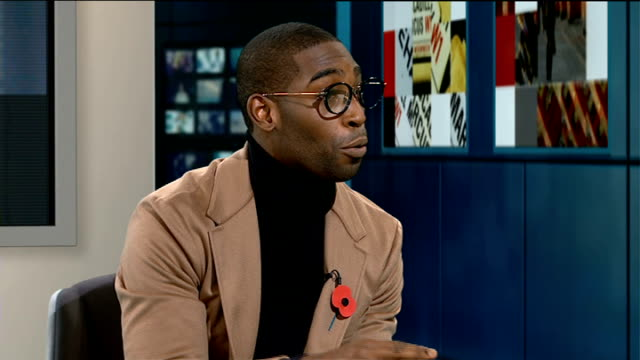 vídeos de stock, filmes e b-roll de tinie tempah interview on his new album england london gir int tinie tempah studio interview sot on pressure on his life affecting his lyrics - título de álbum