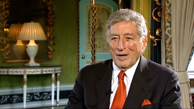 vídeos de stock, filmes e b-roll de tony bennett interviewed int bennett interview sot the handsomest man in the world cary grant became a friend of mine when i lived in hollywood and... - tony bennett
