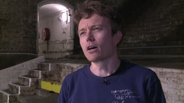 tower bridge 'bascule chambers' to host music concert iain chambers interview sot ian chambers sitting in 'ampitheatre' of bascule chambers shadow of... - bascule bridge stock videos and b-roll footage