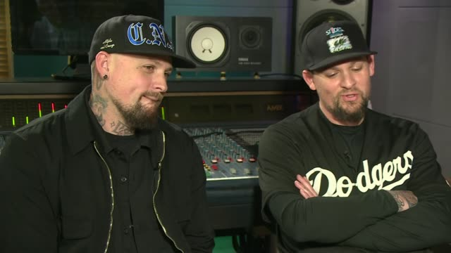 US band Good Charlotte's new album looks at the opiod epidemic ENGLAND London INT Benji Madden and Joel Madden interview SOT Reporter with Benji and...