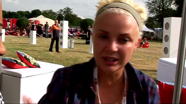 stockvideo's en b-roll-footage met v festival 2010 day two gail porter interview sot on the event on who shes loving at the festival on her hair growing back how it's a bonus as she... - gail porter