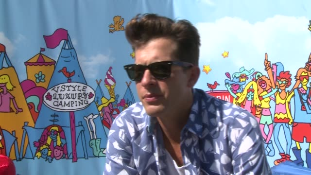 festival 2015: interviews; mark ronson interview sot - being back in the uk - on always being chilled and happy - secret - aftermath of uptown funk -... - explaining stock videos & royalty-free footage