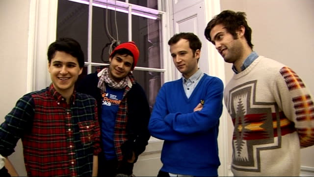 vampire weekend at somerset house: performance and interview; - on their 'preppy' dress sense / on technical malfunctions during their performance /... - smart casual stock videos & royalty-free footage