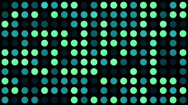 vidéos et rushes de vidéo musique de fond-vert turquoise et cercles multicolores-grid de pois avec effet generative aléatoires sur fond noir - pic flamboyant