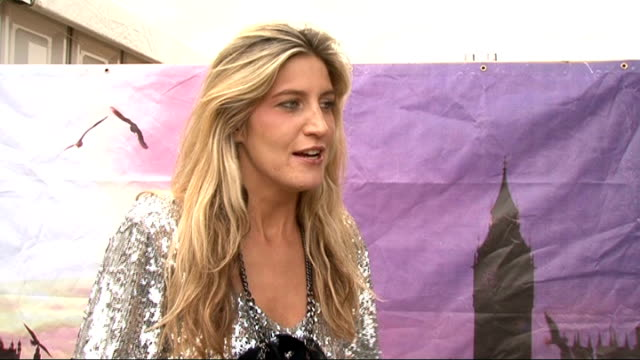 wireless festival day two celebrity interviews backstage francesca hull interview sot had a couple of drinks and now looking forward to seeing music... - reality tv stock videos and b-roll footage