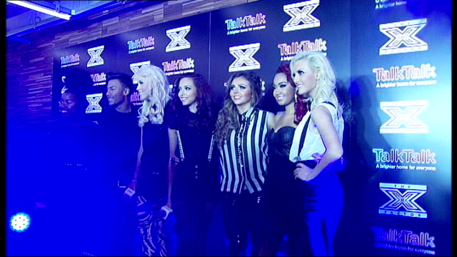 xfactor girl group little mix prepare for semifinal england london photography ** general views x factor semifinalists taking part in group photocall... - semifinal round stock videos & royalty-free footage
