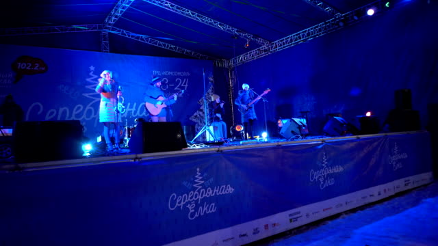 Musical creative groups Performance of artistic performances on the eve of Christmas December 24 2017 On the public square in front of the shopping...