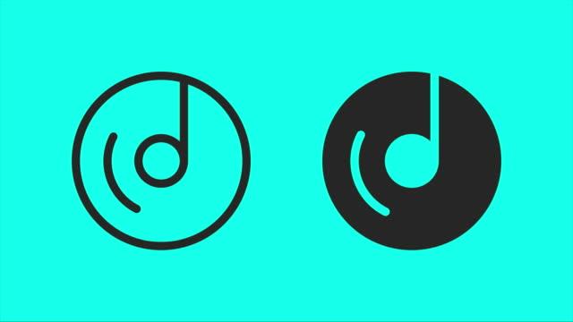 animieren sie musikalische disk icons - vektor - cd stock-videos und b-roll-filmmaterial