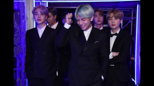Musical group BTS backstage during the 61st Annual GRAMMY Awards at Staples Center on February 10 2019 in Los Angeles California