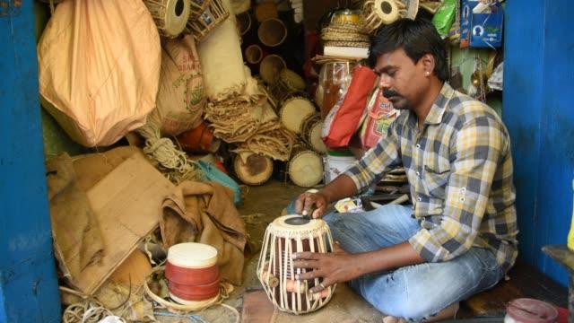 Musical instruments tabla making shop, Nagpur, India.