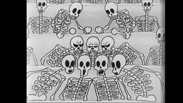 musical skeletons rise to sing and dance - human bone stock videos & royalty-free footage