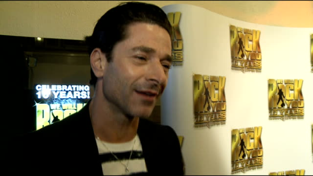 10th anniversary of We Will Rock You Jake Canuso interview SOT On how rock and roll he is On being rubbish at singing On Benidorm new series On...