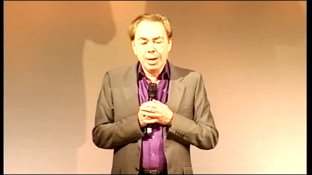 'love never dies' press conference england london her majesty's theatre int andrew lloyd webber speaking from stage at press conference sot describes... - andrew lloyd webber stock videos and b-roll footage