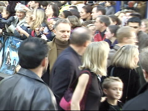 musician gordon matthew thomas sumner aka sting & daughter coco on crowded walkway at leicester square, sting signing autographs for fans & talking... - barricade stock videos & royalty-free footage