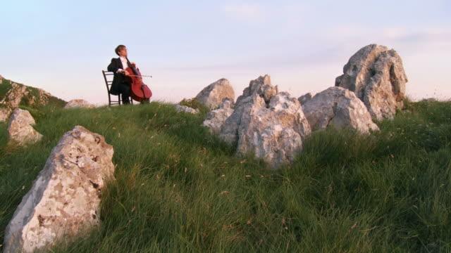 vidéos et rushes de grue haute définition: musicien de la nature - violoncelle